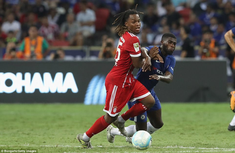 Renato Sanches, who has once again been linked with a move to Manchester United, challenges Boga for the ball