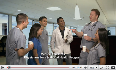 Medical Student members of the Physicians for a National Health Program are on a break telling jokes, but then they are reminded of something that's just not funny. The sad truth about health care coverage is shocking and sobering.