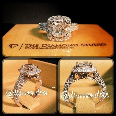 This ring was made with a 1.43ct cushion cut. The diamond