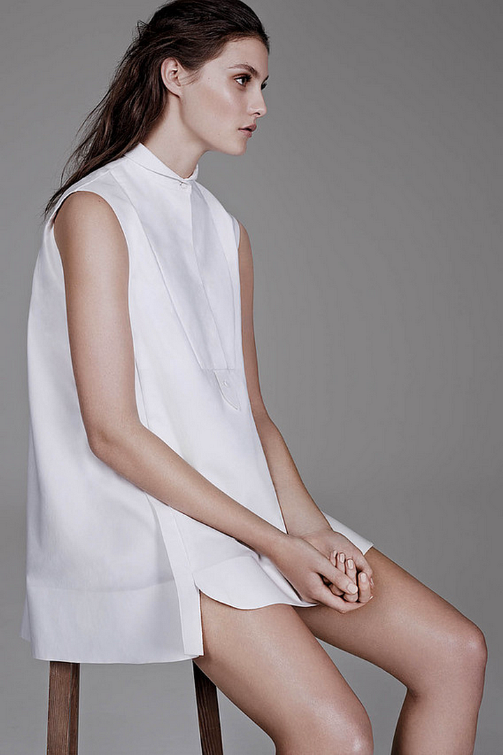 Le Fashion Blog All White Everything The Wall Street Journal Bib Yolk Collared Balenciaga Dress The Simplicity of the White Shirt WSJ Magazine Spring 2014 Photographer Ben Weller Stylist Zara Zachrisson Models Matilda Lowther and Charlotte Wiggins Romantic Natural Beauty Hair 1 photo Le-Fashion-Blog-All-White-Everything-The-Wall-Street-Journal-Balenciaga-Dress1.png