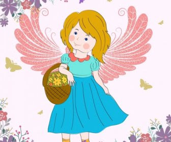 Peri şirin Kızlar çizim Karikatür Renkli Simgeler çiçekler Vektör