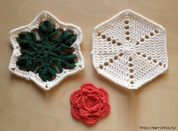 Crochet.  Tack with volume rose (4) (586x432, 138Kb)