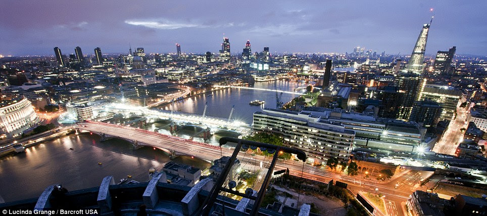 New heights: Miss Grange's photo taken from the top of King's Reach Tower (now called South Bank Tower) in London