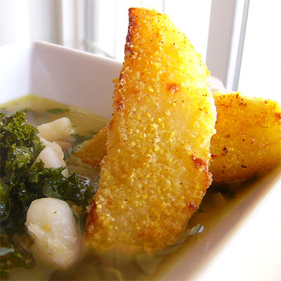 Potato and Greens Soup With Potato-Wedge Croutons