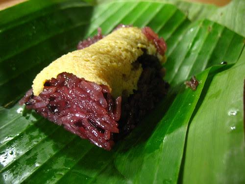 Black rice, custard