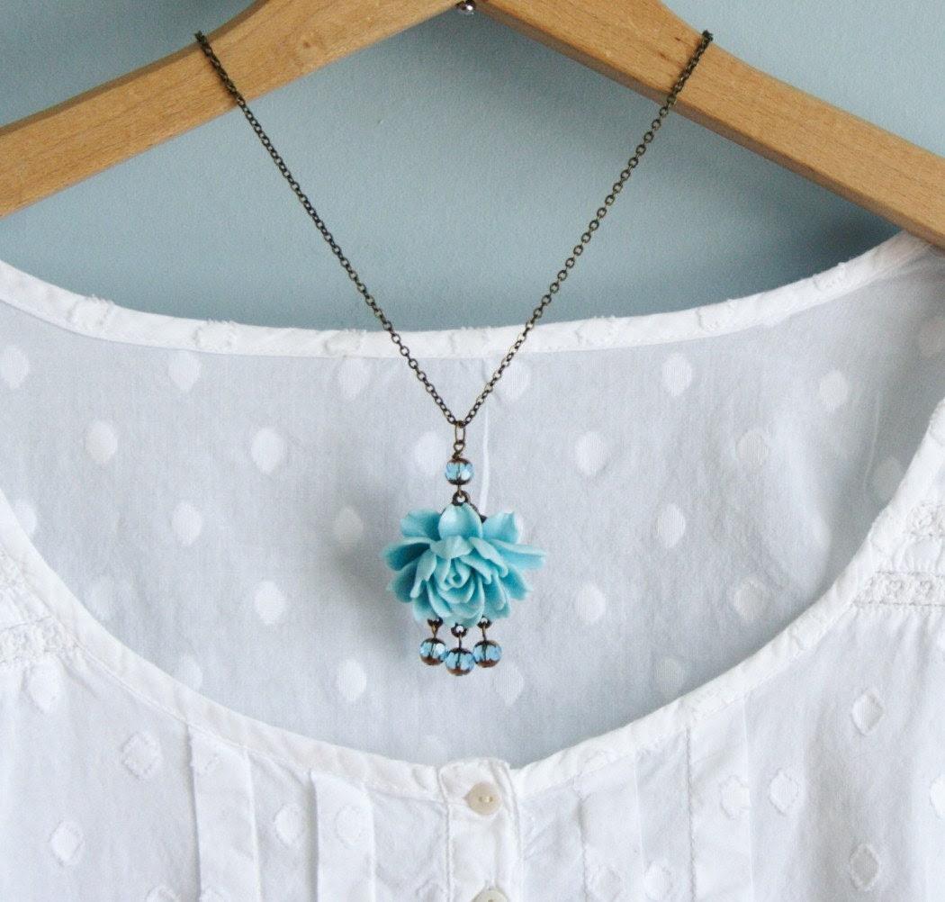 Isabelle Blue Rose Necklace