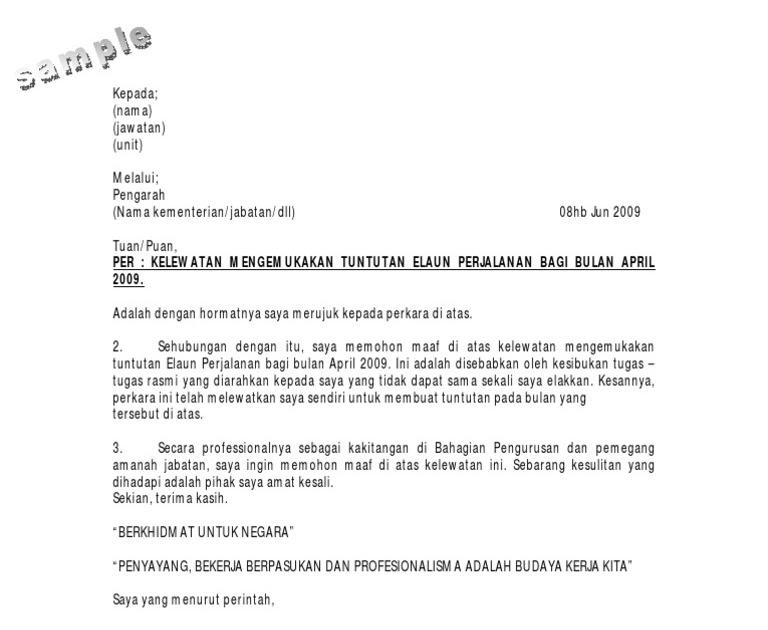 Surat Rasmi Memohon Maaf Atas Kelewatan Arasmi