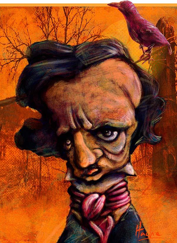 Caricatura de Edgar Allan Poe por Hache Holguin