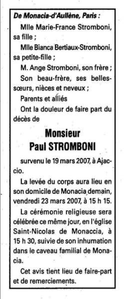 notice décès Paul Stromboni