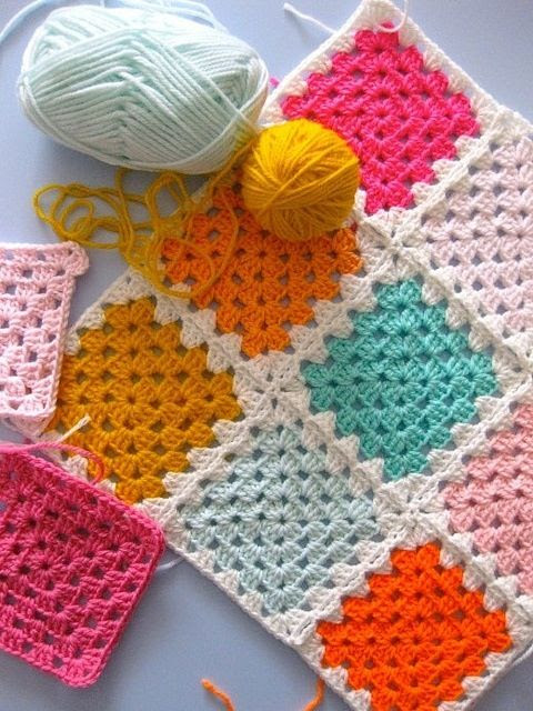 love the solid color crochet squares