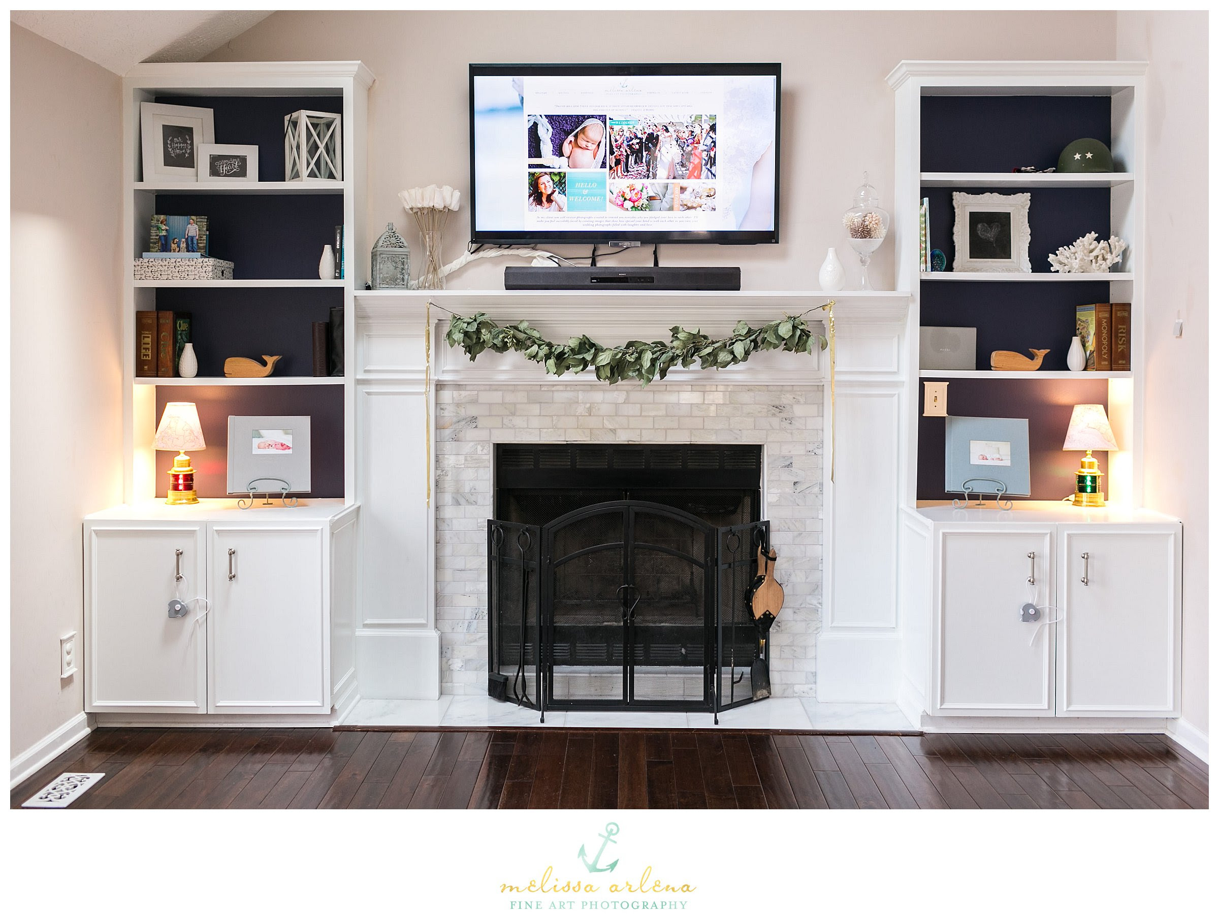 Karly rauner inspiration for a timeless open concept light wood floor living room remodel in other with a stone fireplace, beige. My Home : Fireplace Bookcase Built Ins