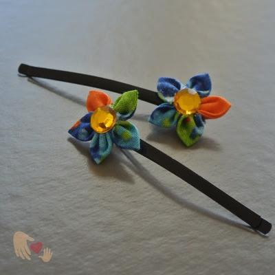 Sweetie Blue and Orange Kanzashi Flower Hairpins