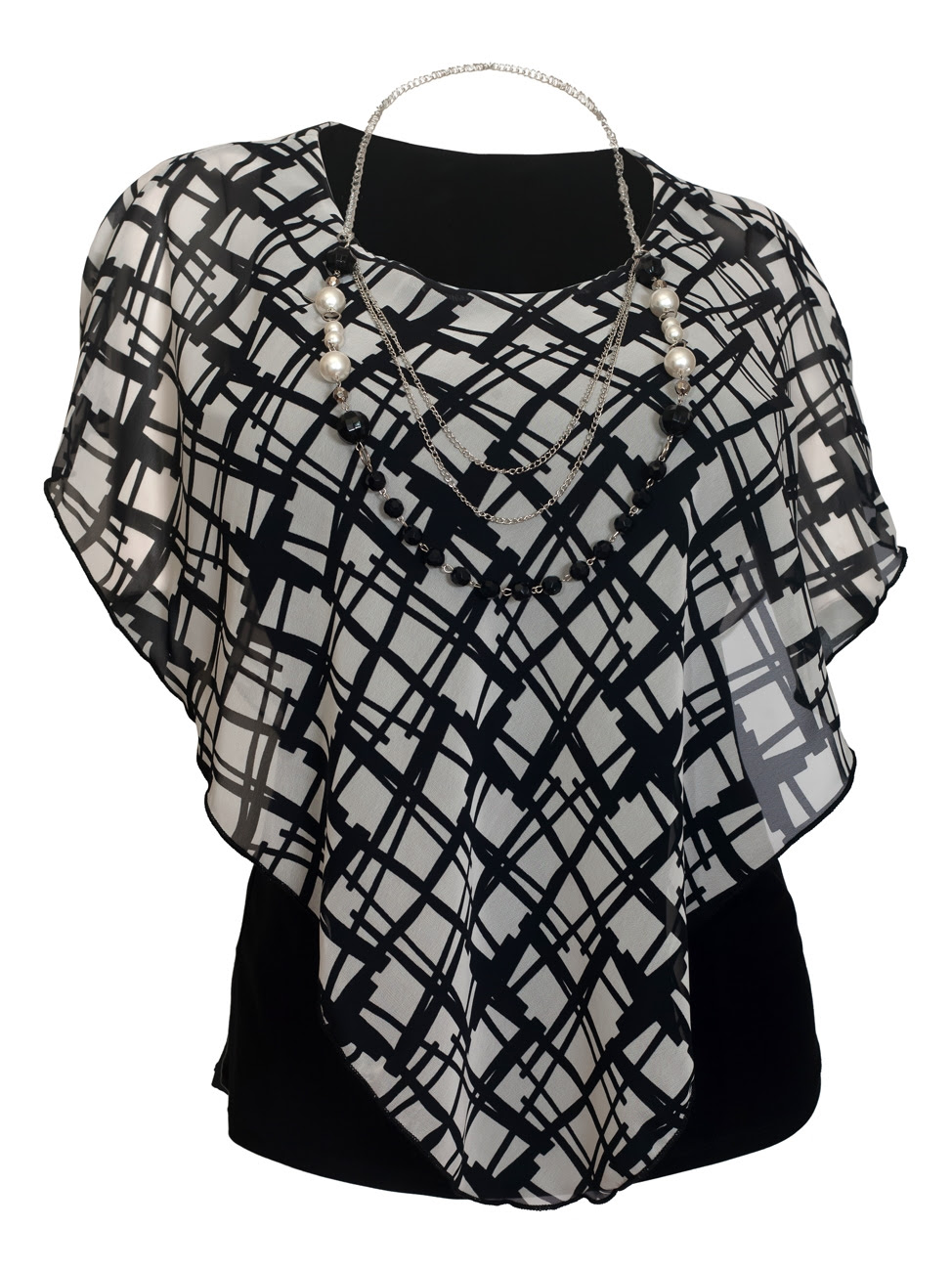 Plus Size Layered Poncho Top Designer Print Black 18219