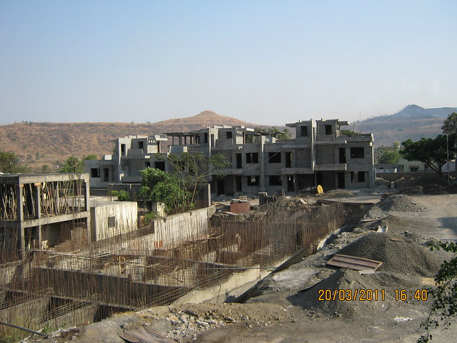 Under construction water tank and Row Houses from E Wing of Teerth Realties' Aarohi - 2 BHK & 3 BHK Flats - near Vidya Valley School - Sus Pune 411 021