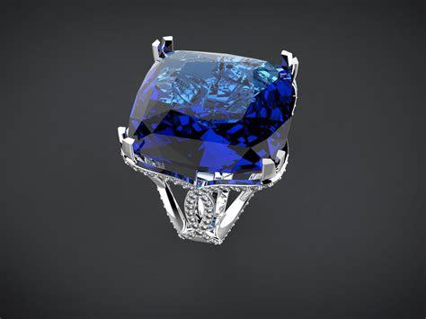 big blue square stone ring  model  printable stl dm