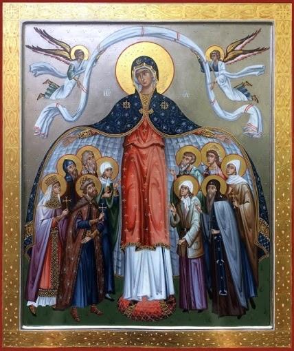 Η Παναγία τότε έβγαλε το μαφόριό της και το άπλωσε σαν σκέπη με τα πανάγια χέρια της πάνω στο εκκλησίασμα…