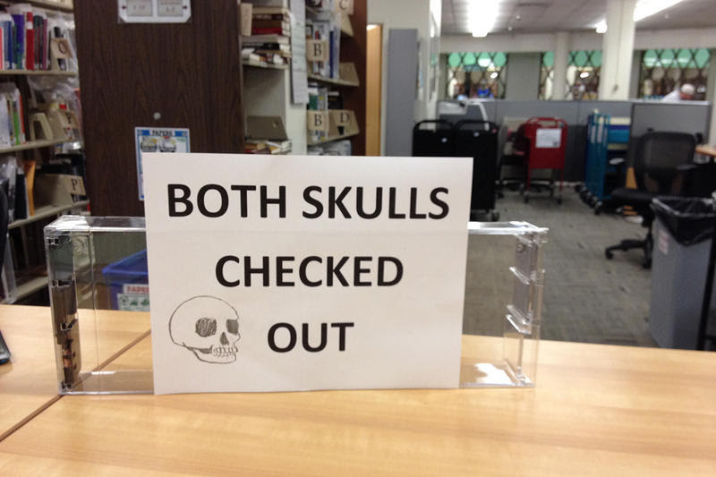 "As the photographer notes, ""a skullless situation at Norlin"" library on the campus of the University of Colorado, Sept. 2013."