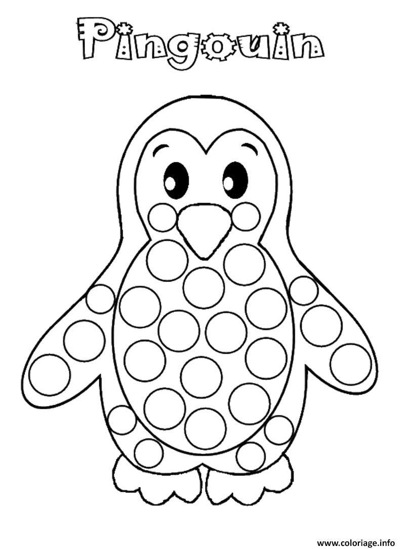 Coloriage Pingouin A Gommettes Jecoloriecom
