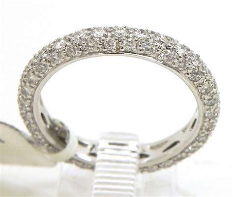 Ladies 18k White Gold 3 Row Diamonds Eternity Wedding Band