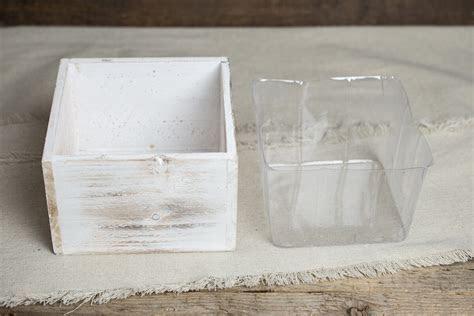 Whitewashed Wood Square Planter Box 6x6