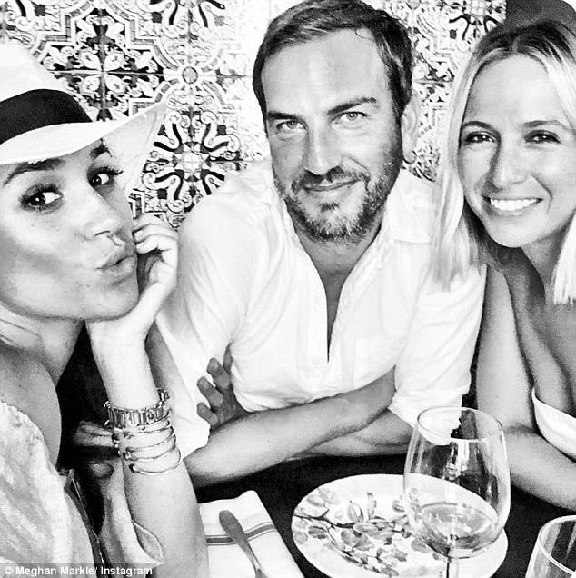 The Suits actress shared a black and white picture of herself, Markus and fashion designer Misha Nonoo crowded around a table with the caption: 'Tapas con mis amigos.'