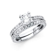 14k White Gold 1.5 CT Round Engagement Bridal Ring Set 2