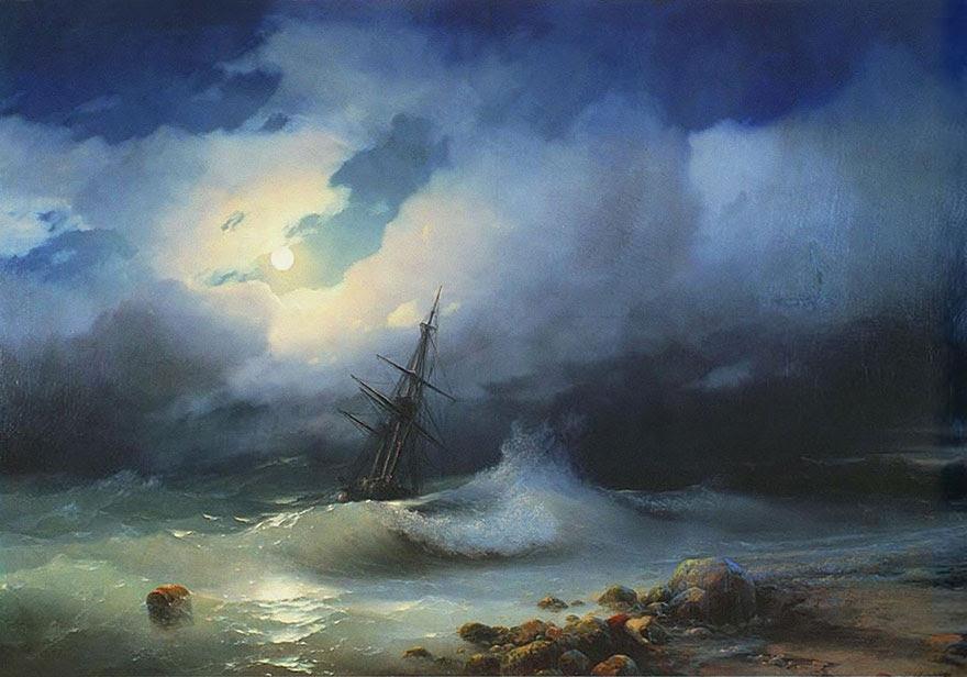 -pintura del siglo fascinantes-translúcidos ondas-19a-ivan-konstantinovich-aivazovsky-5