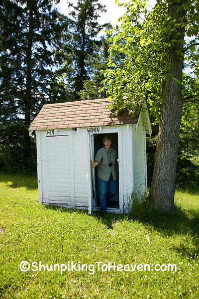 Joann Leaving Outhouse at Oulu Independent Apostolic Lutheran Church, Bayfield County, Wisconsin