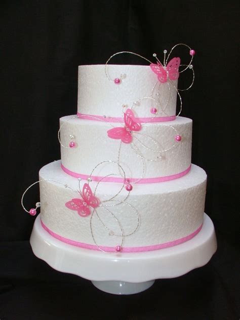 hot pink fushia crystal butterfly side wedding cake