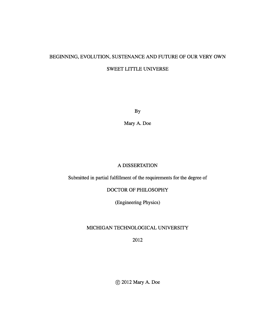 Title Page Thesis Format - Thesis Title Ideas For College