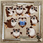 CU Hand Drawn For the love of Owls Clipart Stickers 3