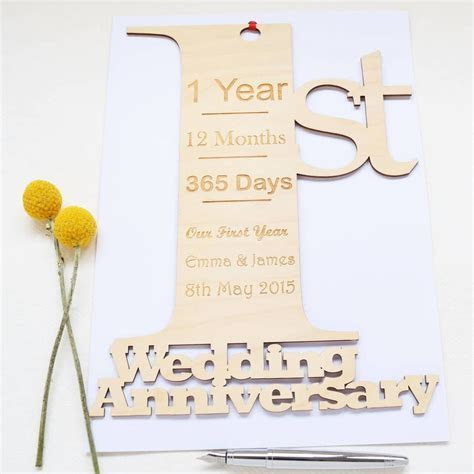 personalised giant 1st wedding anniversary card by hickory