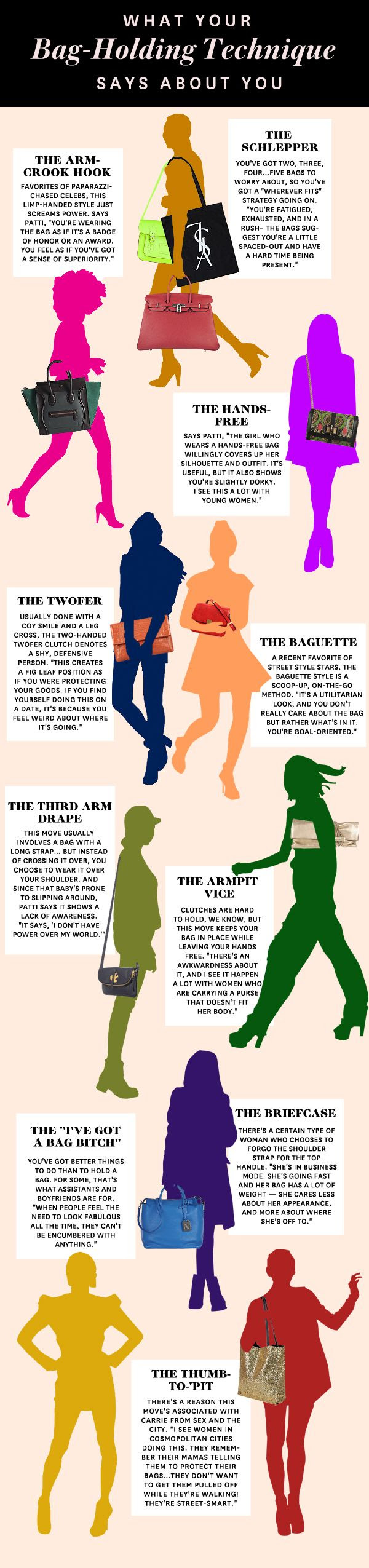 What Your Bag-Holding Style Says About You...I go back and forth from to 'The Arm Crook Hook' to 'Thumb-To-Pit.'