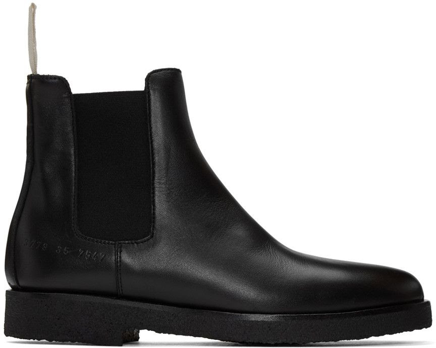 Woman by Common Projects Black Leather Chelsea Boots
