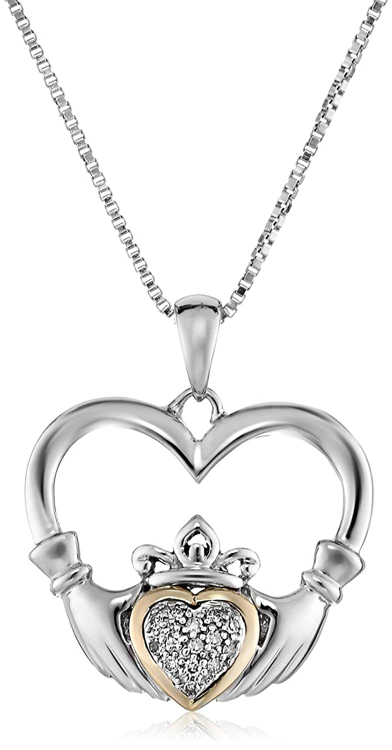 sterling silver and 14k yellow gold diamond claddagh heart