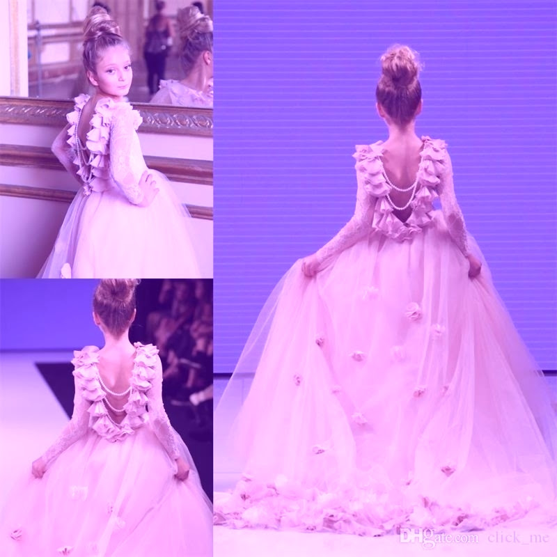 Girl Pageant Gowns For Teens Lace Appliques Long Sleeves ...