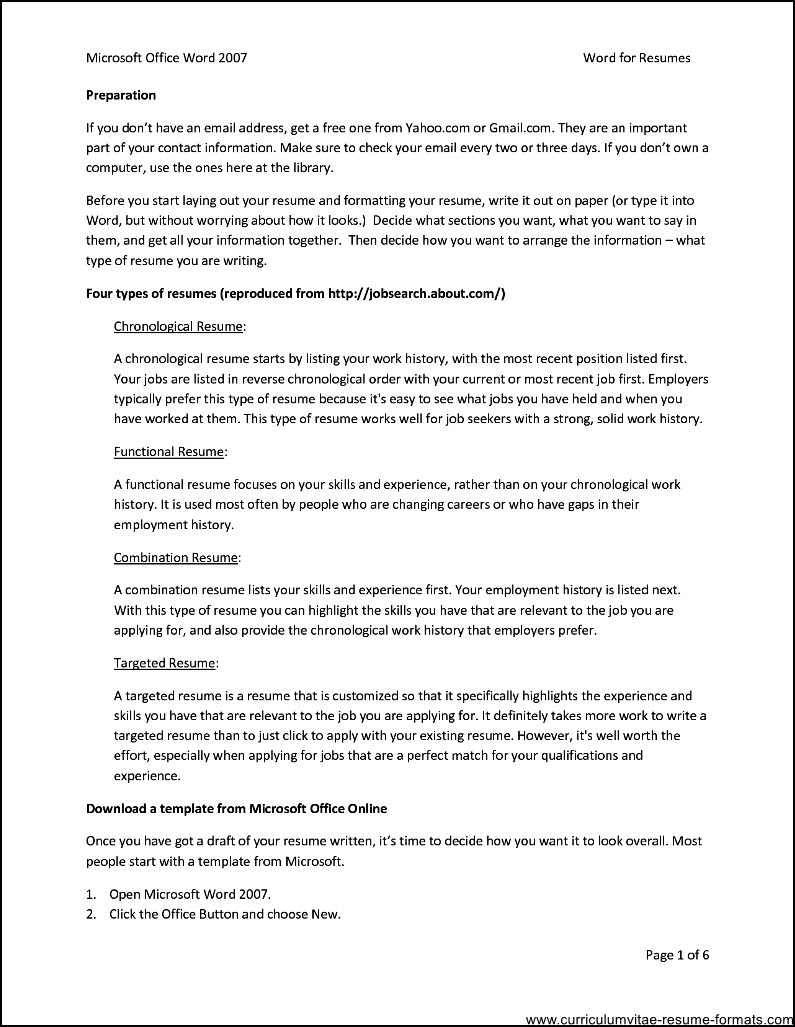 Ms Office Resume Templates  Free Samples , Examples  Format Resume \/ Curruculum Vitae  Free