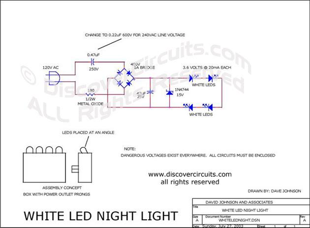Circuit White Led Night Light Circuit Designed By David A Johnson P E