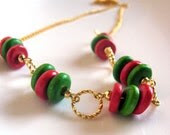 Wooden Christmas necklace - gold red and green