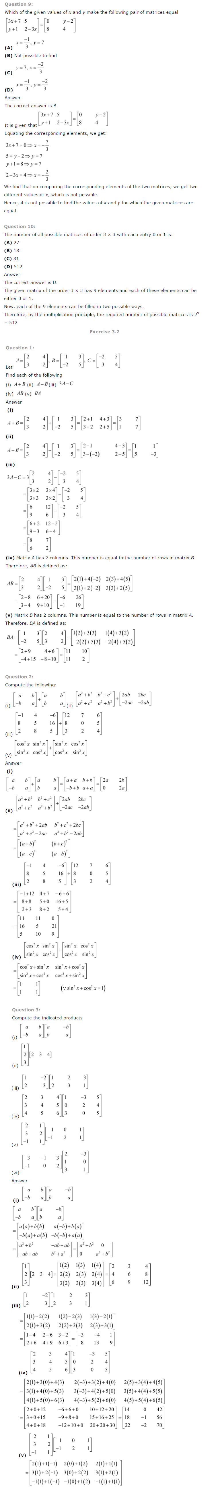 NCERT Solutions for Class 12 Maths Chapter 3 Matrices ex 3.2