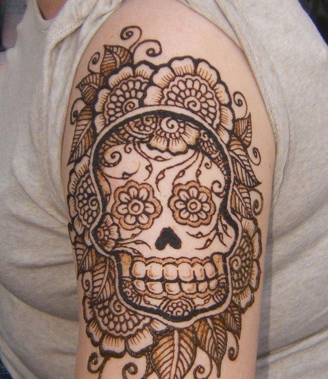 Sugar Skull Henna Tattoo On Half Sleeve Tattoo Bytes
