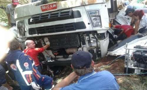 Palmital - Acidente na PR 364 envolve caminhão com placas do município