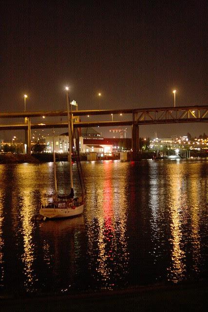 marquam bridge at night (with sailboat)