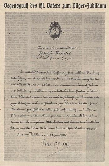 Deutsch: Pius XII., Glückwunschschreiben zum 1...