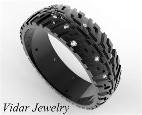 black gold tire tread diamond wedding band  auto fans