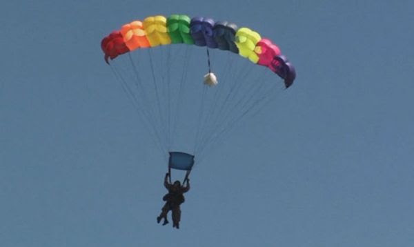 Coming in for a landing at the West Tennessee Skydiving drop zone, on April 29, 2013.