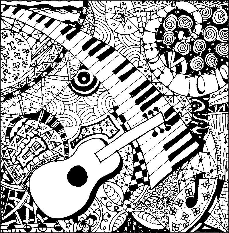 Coloriage Anti Stress Fete De La Musique Guitare Et Piano 5