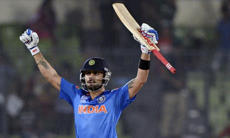Virat Kohli celebrates India's win over Bangladesh in Dhaka