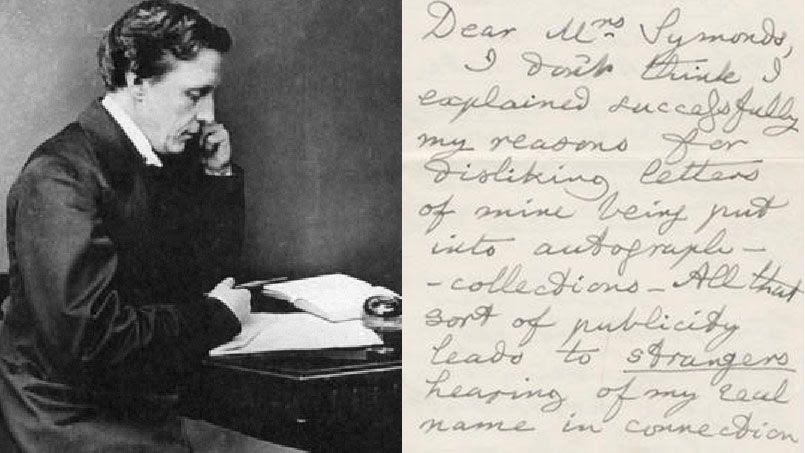 À gauche, le romancier britannique Lewis Carroll (1832-1898). À droite, la lettre adjugée 16 000 euros .