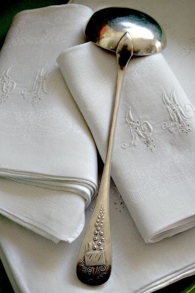 Sterling silver and monogrammed linens